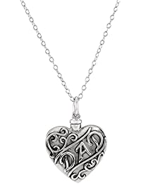 """'Dad' Heart Ash Holder Necklace, Rhodium Plated Sterling Silver, 18"""""""