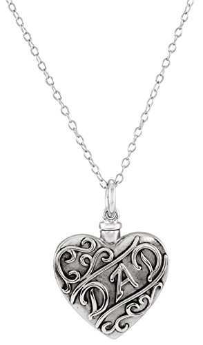 'Dad' Heart Ash Holder Necklace, Rhodium Plated Sterling Silver, 18'' by The Men's Jewelry Store (Unisex Jewelry)