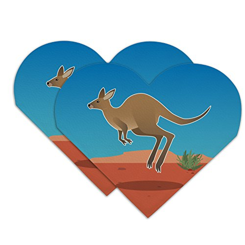 Kangaroo Hopping in the Australian Outback Heart Faux Leather Bookmark - Set of (Outback Suede)