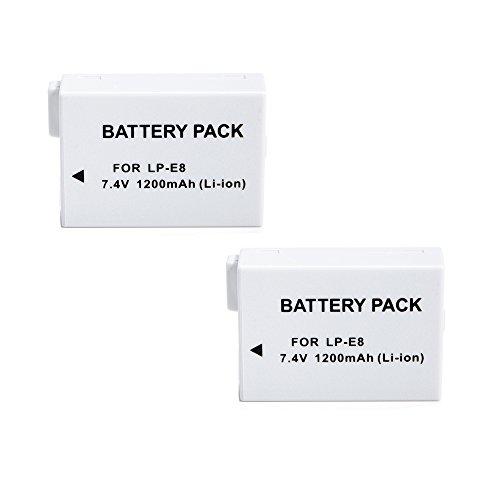 2x Masione 7.4V 1200mAh Li-ion Replacement Canon LP-E8 Battery for Canon Rebel T2 T3i T2i Kiss X5 X4 EOS 550D 600D -