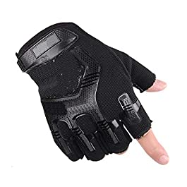 AlexVyan Imported 1 Pair Black Protective Half Finger Hand Riding, Gym Cycling, Bike Motorcycle Gloves for Men…
