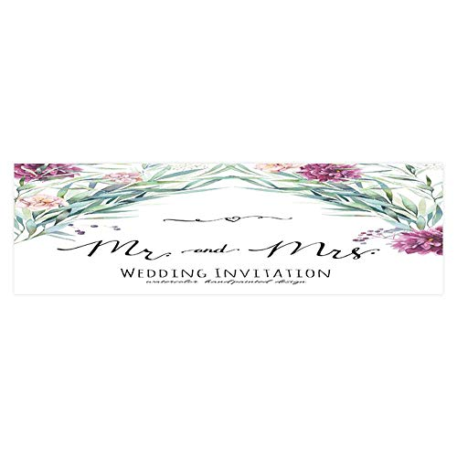 Dragonhome Decorative Aquarium Background wedd Invitation with Calligraphy Words Painted Background with Decal Sticker Home Decor Art L29.5 x H19.6 ()