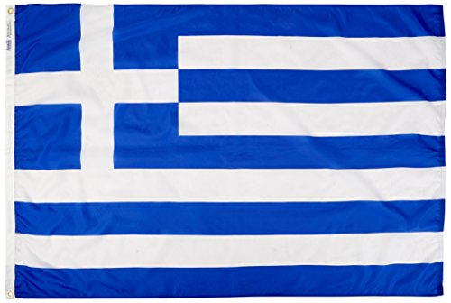 Greece Flag 4x6 ft. Nylon SolarGuard Nyl-Glo 100% Made in USA to Official United Nations Design Specifications by Annin Flagmakers.  Model - Greece Official