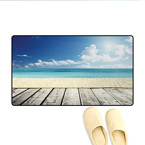 (Door-mat,Tropical Beach from Wooden Pier with Sky Landscape Summer View Image,Door Mats for Inside Bathroom Mat Non Slip,Cream Turquoise White,Size:24