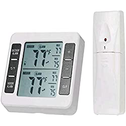 SODIAL Digital Fridge Thermometer Wireless Weather Station In Outdoor Home Garden Refrigerators Freezers