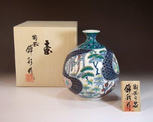 有田焼伊万里焼の陶器花瓶|高級贈答品|ギフト|記念品|贈り物|おしどり陶芸家 藤井錦彩 B00IDQUTOU