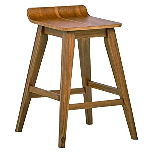 Farmhouse Barstools Amazon Brand – Stone & Beam Fremont Rustic Kitchen Counter Saddle Farmhouse Bar Stool, 25.5 Inch Height, Natural Wood farmhouse barstools