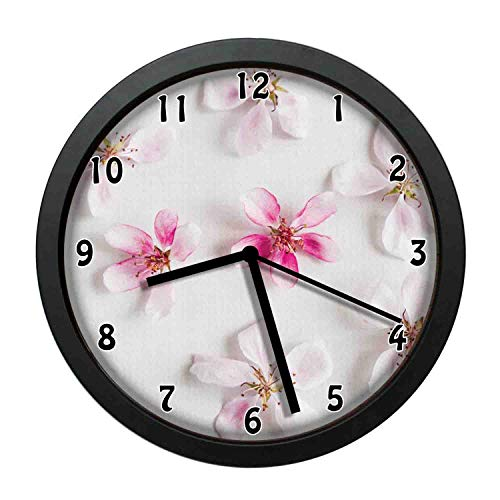 (one-six-one Love Themed Blossoming Flowers Spring Pattern with Sakura Petals,Pink Baby Pink White Individuality Modern, Silent Non-Ticking Wall Clock for Living Room Home Office 12in Framed)