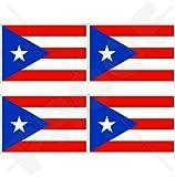 """PUERTO RICO Flag Puerto Rican 2"""" (50mm) Vinyl Bumper-Helmet Stickers, Decals x4"""