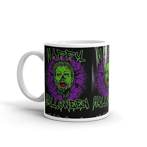 Zombie Purple Grunge Splatter Happy Halloween Mug 11 Oz White Ceramic