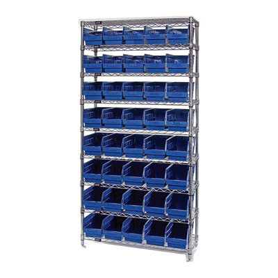 Quantum Storage 40-Bin Chrome Wire Shelf Bin System - 36in.W x 12in.D x 74in.H Rack Size, 6in.H Bins, Blue, Model# WR9202BL by Quantum