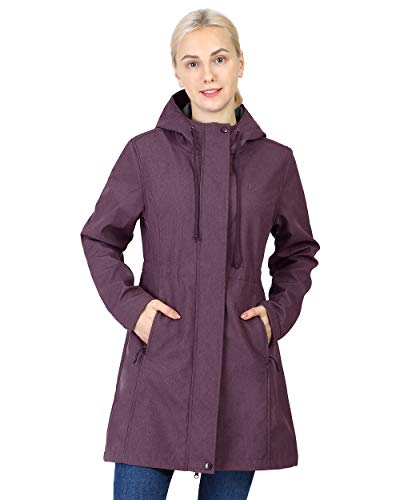 Outdoor Ventures Women's Softshell Jacket Hooded Lightweight Windproof Fleece Lined Waterproof Long Coats