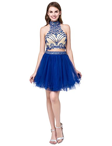 Dress Short Dress JAEDEN Dresses for Backless Tulle Blue Homecoming Cocktail Party Homecoming Halter AnFzwq