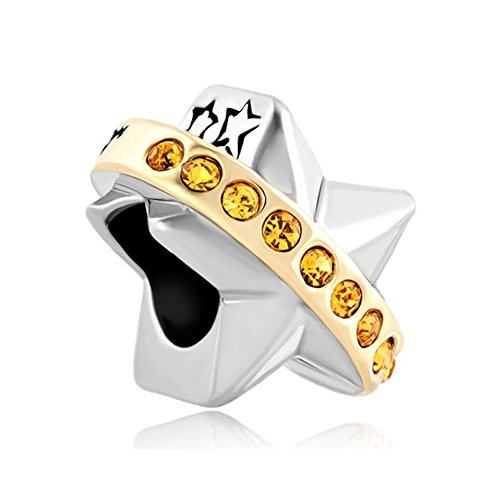 Pugster Graduation Gifts Gold Tone Circle Wish Upon Star Charm Sale Cheap Jewelry Beads Compatible Pandora Charm ()
