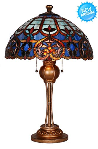 Tiffany Style Table Lamp Desk Lamp 24 Inch Height 2-Light Wilsons Lighting Blue Dream Series Home & Office Decor Collection Model WL164228