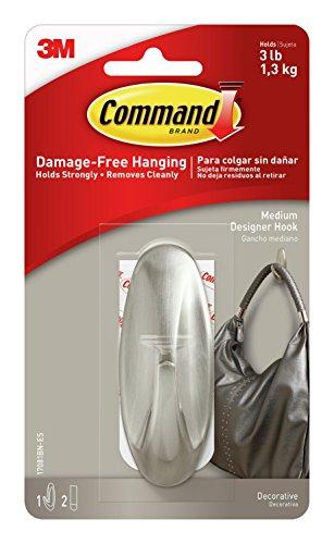 Command Designer Hooks, Medium, Brushed Nickel, 1-Hook (Wall Hook Strip)