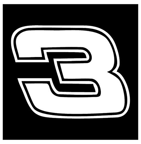 Dale Earnhardt #3 - White - Peel and Stick Sticker Graphic - Auto, Wall, Laptop, Cell, Truck Sticker for Windows, Cars, Trucks