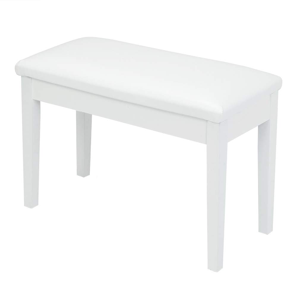 Bonnlo White Duet Piano Bench Wooden keyboard bench with Storage and Padded Cushion by Bonnlo