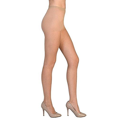 Women High Support Pantyhose Stockings - Silky Soft Light weight Comfortable Stretchy Waistband Sheer Nylon and Spandex Hosiery Panty hose with Reinforced Toe for Woman - Plussize Natural ()