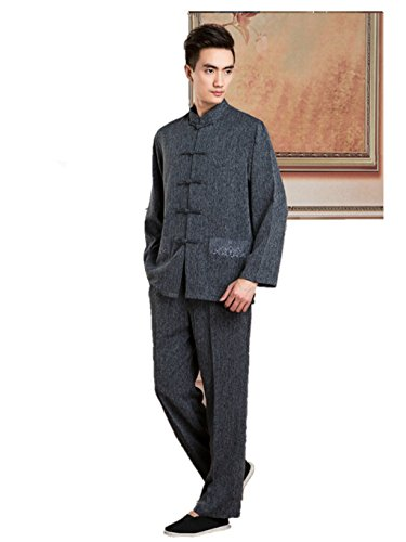 Cotton-flax Tang Suits (Jackte+Pants) Retro Jackets Coats Business Jackets Full Dress by Double-sided Wear Tang Suit (Image #9)