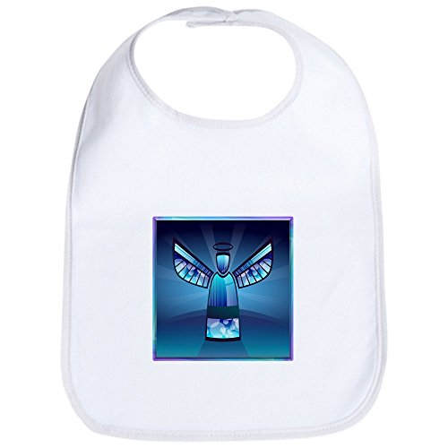 Truly Teague Baby Bib Contemporary Abstract Stained Glass Angel - Cloud - White Glasses Cloud