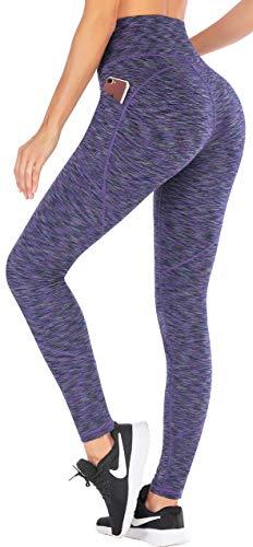 Ewedoos Yoga Pants with Pockets for Women Ultra Soft Leggings with Pockets High Waist Workout Pants (Space Dye Light Purple, Medium)