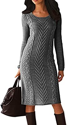 Itsmode Womens Long Sleeve Knit Crew Neck Bodycon Midi Sweater Dress Pullover
