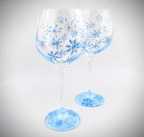(Hand painted snowflake stemmed wine glasses, winter snow theme - set of two)