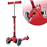 Micro Kickboard - Mini Deluxe LED 3-Wheeled, Lean-to-Steer, Swiss-Designed Micro Scooter for Preschool Kids with LED Light-up Wheels, Ages 2-5 - Red