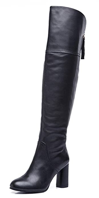 ea55c343e353 DLHH Ladies Womens Fashion Cold-Weather Pointed Toe Square Heel High Heel  Leather Above The