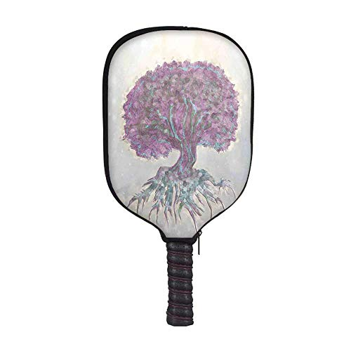 (YOLIYANA Tree of Life Fashion Racket Cover,Watercolors Style Print of Old Plant with Bokeh Lights Majestic Roots Nature for Playground,8.3