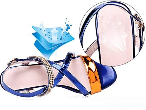 Sandali Colore Misto in Blu in 35 Estivi Europei Dimensioni Pelle Sandali Americani Colore con e rr4Rq8x