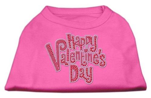 Mirage Pet Products Happy Valentines Day Rhinestone Dog Shirt, Small, Bright Pink