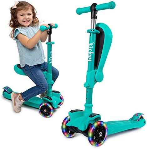 KicksyWheels Scooters for Kids with Seat Folding and Removable – 3 Wheel Toddler Scooter for Boys Girls – Toddlers and Kids Toys for 2 Year Old and Up – Three Heights Light Up Wheels