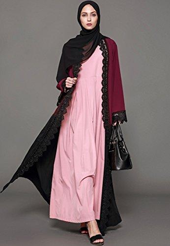 Ababalaya Women's Elegant Modest Muslim Full Length O-Neck Solid Pleated Runway Abaya S-4XL,Pink,Tag Size L = US Size 10-12 by Ababalaya (Image #7)
