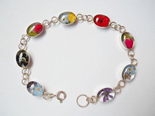 925 Silver oval Dry Pressed Flowers Bracelet $45