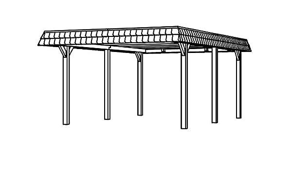 Cabaña Madera CarPort Wendland 409 x 628 cm con apertura Negra ...