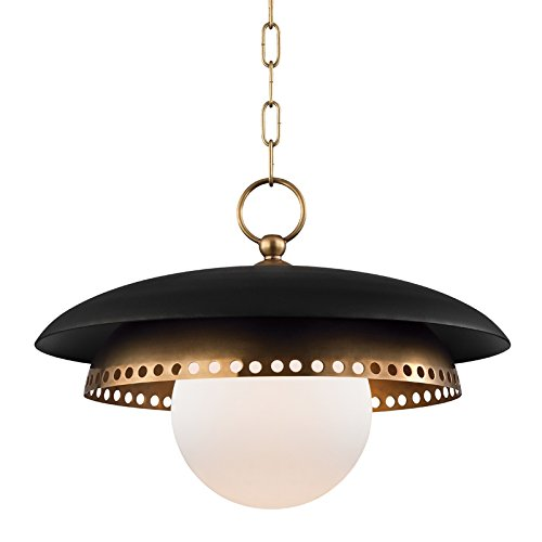 Hudson Valley Lighting 3317-AGB Herkimer 1 Light Pendant, Aged Brass, Black