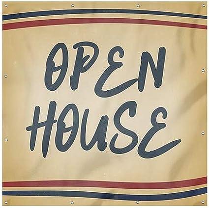 Nostalgia Stripes Heavy-Duty Outdoor Vinyl Banner 8x8 Open House CGSignLab