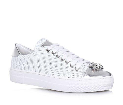 MISS GRANT - Chaussure à lacets blanche en cuir ajouré, made in Italy, style élégant et glamour, fille, filles, femme, femmes