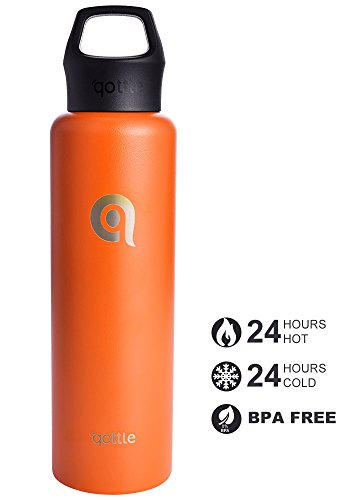 qottle Double Wall Vacuum Insulated Stainless Steel Water Bottle - 24oz Travel Flask-orange