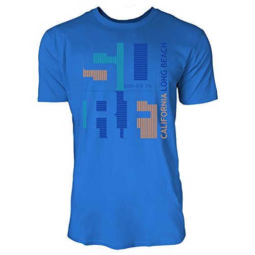 Sinus Art ® Herren T Shirt Surf California Long Beach ( Royal_Blue ) Crewneck Tee with Frontartwork