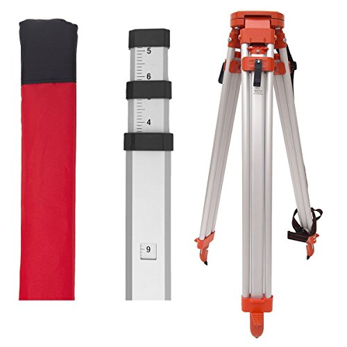 AdirPro Tripod & 13-Foot Rod Package, Includes: Aluminum 5/8-Inch 11-Threaded Flat Head Tripod with Quick Clamp, 13-Foot Aluminum Grade Rod - 8ths, 4 Section telescopic With Carrying -