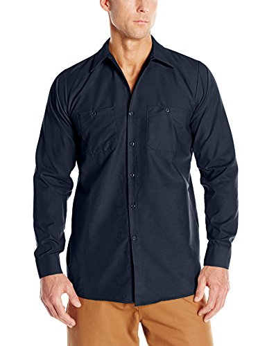 (Red Kap Men's Industrial Work Shirt, Regular Fit, Long Sleeve, Navy, Large )