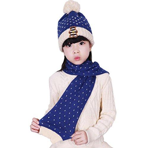 Dreamyth Winter Baby Kids Boys Girls Bear Knit Wool Hat Coif Hood Scarf (Blue) -