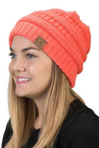 Atomic Football (H-6020a-52 Solid Ribbed Beanie - Coral, One Size Fits Most)