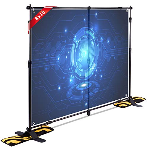 T-Sign 10'x8' Professional Step and Repeat Backdrop Banner Stand Large Tube Heavy Duty Telescopic for Trade Show and Photo Booth Background with Carrying Case and Sand Bags for Free ()