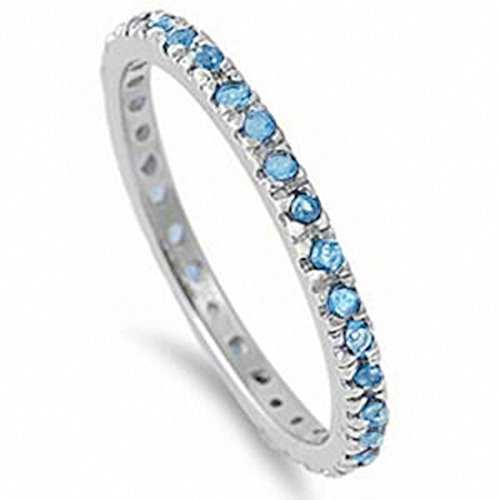 Blue Topaz Radiant Ring - Stackable Eternity Wedding Engagement Band Ring Round Simulated Blue Topaz 925 Sterling Silver, Size-9