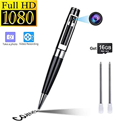 Hidden Camera Spy Camera Pen HD 1080P Portable Video Recorder Security Camera Built-in 16GB Micro SD Card + 2 Ink Fills by Goospy