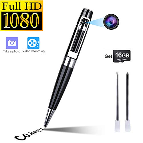Hidden Camera Spy Camera Pen HD 1080P Portable Video Recorder Security Camera Built-in 16GB Micro SD Card + 2 Ink Fills